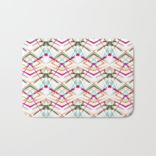 Abstract geometric colorful pattern on white background . Bath Mat