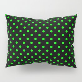 Polka dots Green dots over black Pillow Sham