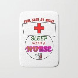Funny Feel Safe At Night, Sleep With A Nurse RN Bath Mat