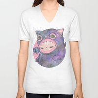 loll3 V-neck T-shirts featuring Boooh! by lOll3