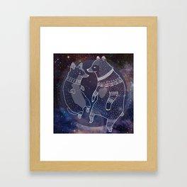Space Bear Corgi Framed Art Print