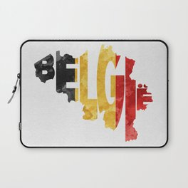Belgium (België) Typographic World Map / Belgium Typograpy Flag Map Art Laptop Sleeve