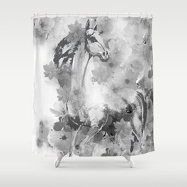 HORSE AND CHERRY BLOSSOMS IN BLACK AND WHITE Shower Curtain
