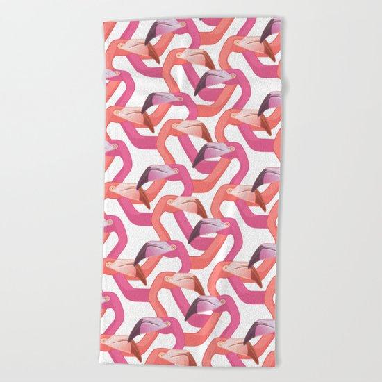 Woven flamingoes on white Beach Towel