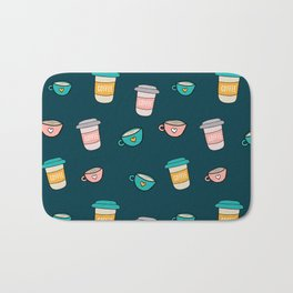 Happy coffee cups and mugs in dark-blue background Bath Mat