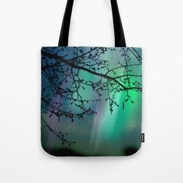 Tree Branch and Aurora Borealis Night Sky Tote Bag