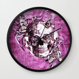 Plum Smoke and roses skull Illustration. Wall Clock