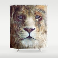 animal skull Shower Curtains featuring Lion // Majesty by Amy Hamilton