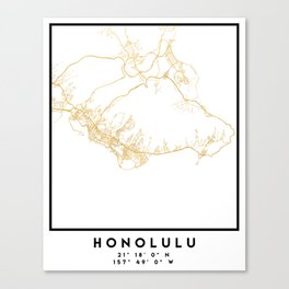 HONOLULU HAWAII CITY STREET MAP ART Canvas Print