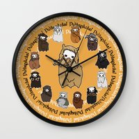 fili Wall Clocks featuring Dwarpacas(Fili) by Lady Cibia