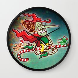 Halloween witch flying on a Christmas candy cane Wall Clock