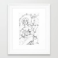 bunnies Framed Art Prints featuring Bunnies  by Jessica Bowman Illustrates