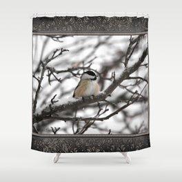 Winter Windblown Black-Capped Chickadee Shower Curtain