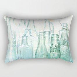 Antique Bottles with Blue Green Glass Rectangular Pillow
