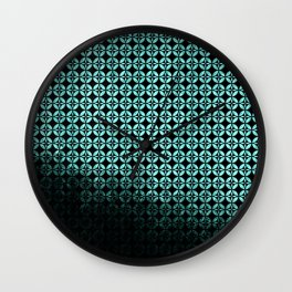 Textured teal and black Shippo ombre - traditional Japanese pattern Wall Clock