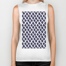 Rhombus Blue And White Biker Tank