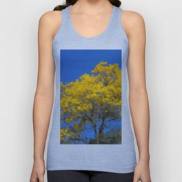 Blooming tree Geometric yellow and blue Unisex Tank Top