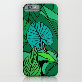 Jungle Leaves Illustrated in Black iPhone Case