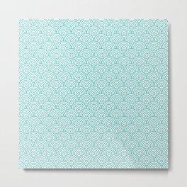 Aqua Concentric Circle Pattern Metal Print