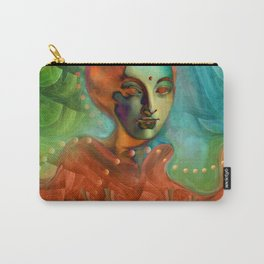 """""""Exotic woman in green and orange tropical jungle"""" Carry-All Pouch"""