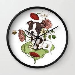 Boston Terrier Puppy Bouquet Wall Clock