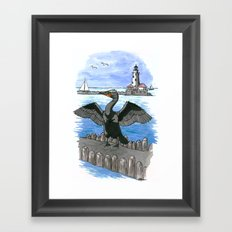 Double-crested Cormorant at Chicago Lakefront Framed Art Print