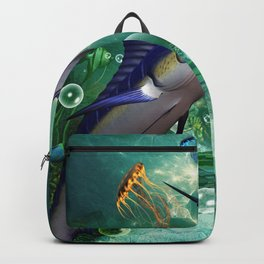 Awesome marlin with jellyfish Backpack