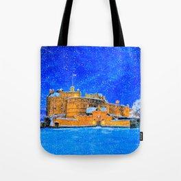 Edinburgh Castle In The Snow On A Winter Night Tote Bag