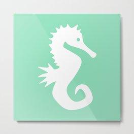 Seahorse (White & Mint) Metal Print