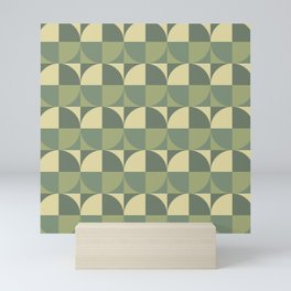 Geometric Camouflage Pattern with Parts of Circle in Square Tiles Mini Art Print