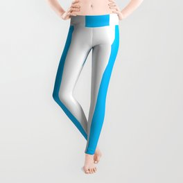Capri turquoise -  solid color - white vertical lines pattern Leggings