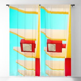 Architectural photography street lamp red+yellow / aqua sky Blackout Curtain