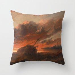 Francis Danby - Shipwreck Throw Pillow