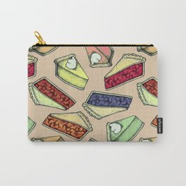 Easy As Pie - cute hand drawn illustrations of pie on neutral tan Carry-All Pouch