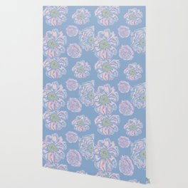 Abstract Flowers Blue #society6 #buyart Wallpaper