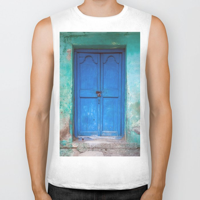 Blue Indian Door Biker Tank