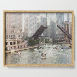Chicago River, Bridges Up Serving Tray