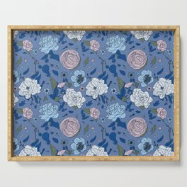 Lovely Seamless Floral Pattern With Subtle Poodles (Hand Drawn) Serving Tray