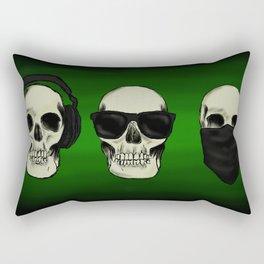 Hear No Evil, See No Evil, Speak No Evil Skulls Rectangular Pillow