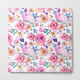 Elegant modern pink lilac orange watercolor floral Metal Print