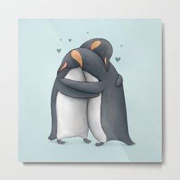 Penguin Hug Metal Print