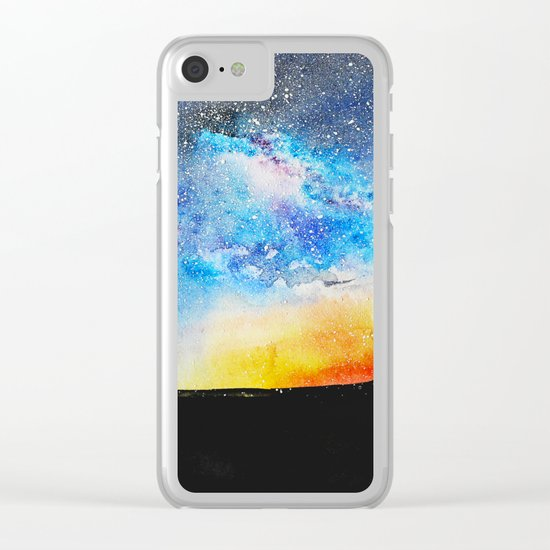 When night is falling || watercolor Clear iPhone Case