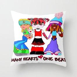 Beat Girlz Throw Pillow