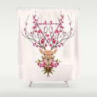 spring Shower Curtains featuring Spring Deer by Robert Farkas