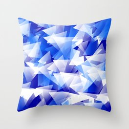 triangles in shades of blue Throw Pillow