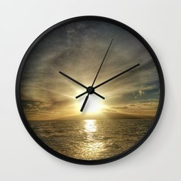 Sunset on Maui by boat Wall Clock