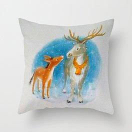 Confidences d'un renne avec un âne... Throw Pillow