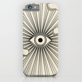 Radiant eye minimal sky scene with clouds - black lines on neutral iPhone Case