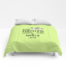 Real Pirates are born in MARCH T-Shirt Dw7wp Comforters