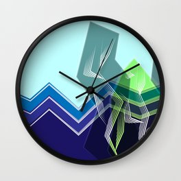 Geometric Line Abstract Art Natural Landscape With Mountains and Trees in a beautiful day warm color Wall Clock